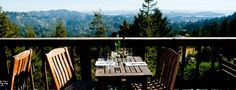 Mountain Home Inn - Majestic Views on Mt. Tamalpais. Access hiking trails across the street. Can hike down to Stinson Beach and take West Marin Stagecoach bus back. Restaurant has fireplace, map of hiking trails, books about Mt. Tamalpais.
