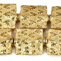 12mm 22kt Gold Plated Copper Heart Embossed Square Beads, 8 inch