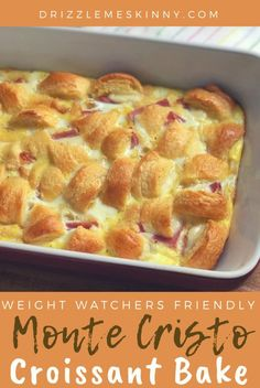 Monte cristo croissant bake - Drizzle Me Skinny! Weight Watchers Breakfast, Weight Watcher Dinners, Weight Watchers Diet, Skinny Recipes, Ww Recipes, Baking Recipes, Easy Brunch Recipes, Breakfast Recipes, Drink