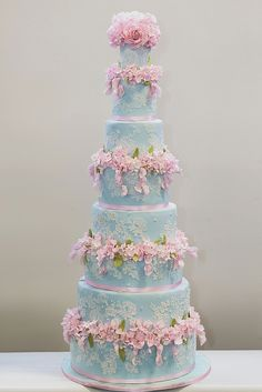Blue cornelli lace cake with pink flowers | Elizabeth's Cake Emporium ᘡղbᘠ