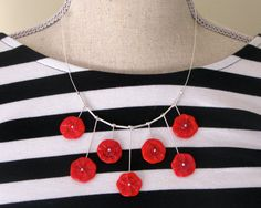 Funky Red Disk Necklace