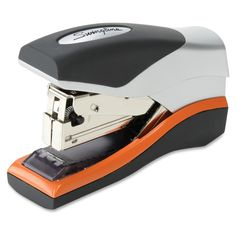 Swingline Jam-free Compact Stapler - Item # SWI87842 - Jam-free design delivers powerful stapling performance. Cushion grip offers comfortable handheld use. Easily clinches to securely fasten up to 40 sheets at once. Compact design is sized to fit in the palm of your hand. Flattens staples so papers can be stacked neatly on top of each other.