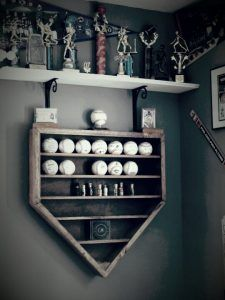 Baseball shelf in the shape of Home Plate .baseball decor with function.would do softball.would be perfect for when I do my bedroom softball! Purchased from scenicviewcreations on etsy.