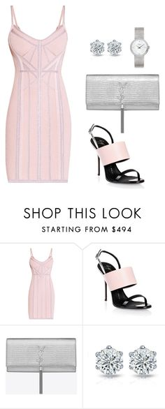 """""""Untitled #395"""" by nadiralorencia on Polyvore featuring Hervé Léger, Giuseppe Zanotti, Yves Saint Laurent and Dior Timepieces"""
