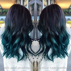 Green hair balayage. #hairbymarisarosegoodwin