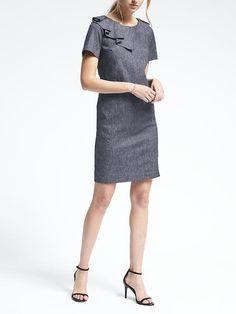 Ruffle Navy Linen-Cotton Dress