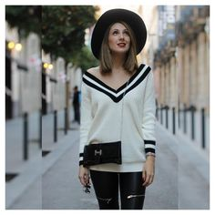 Stunning fall street style by Laura Montes featuring beige V neckline sweaters. Grab her gorgeous sweater only here. | Lookbook Store OOTD #LBSDaily