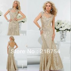 New Arrival Scoop Mermaid Champange Sequin Gold Beaded Open Back Sexy Floor Length Prom Dresses Evening Gowns 2013 US $156.00