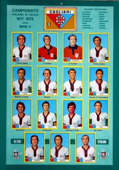 Cagliari of Italy team stickers for Italy Team, Corinthian, Guinness, Football Team, Verona, Album, Sports, Poster, 1970s