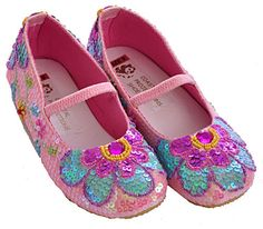 Coastal Projections Little Girls Sequin Shoes Pink Flowers $52.00
