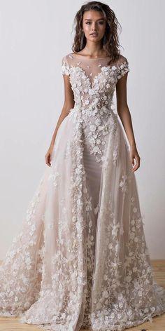 wedding dresses fall 2018 sheath overskirt illusion neckline floral appliques dimitrius dalia