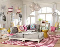 Lounge Room Decorating Ideas   Bold Colors   PBteen [ I like the wall idea ]