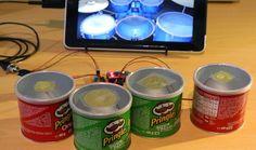 Convierten unas cajas de Pringles en un potente tambor digital - http://www.hwlibre.com/convierten-unas-cajas-pringles-potente-tambor-digital/