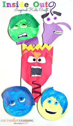 Disney Pixar Inside Out is this summers must see movie! See how we created Riley's 5 Emotions Inside Out Inspired Kids Craft - abccreativelearning.com