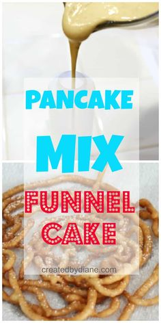 Pancake mix is the BIG secret to making funnel cake at home. It fries up and tastes just like the funnel cake you get at the boardwalk and fairs. Funnel Cake Recipe Using Pancake Mix, Funnel Cake Batter, Funnel Cake Fries, Funnel Cake Recipe Easy, Homemade Funnel Cake, Homemade Pancakes, Funnel Cakes, Pancake Cake, Fried Pancakes Recipe