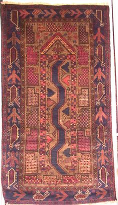 "A very unusual Afghan prayer carpet from the ""war rug"" tradition. Baluchi, probably made by Afghan refugees in Pakistan. Rugs On Carpet, Carpets, Afghan Rugs, War Image, Textiles, Prayer Rug, Oriental Rugs, Kilims, Persian Rug"