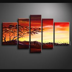 Enchanting Contemporary Wall Art Hand Painted Oil Painting Stretched Ready To Hang Africa Landscape. This 5 panels canvas wall art is hand painted by Bo Yi Art Studio, instock - $165. To see more, visit OilPaintingShops.com