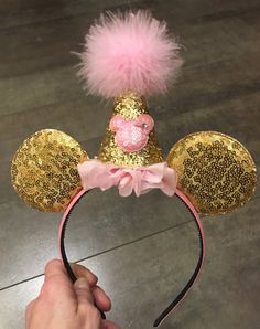 minnie mouse ears birthday party hat pink and gold hard headband, quick shipping minnie mouse birthday headband,