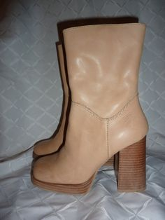 Made of the softest Leather upper with square toe. Has 4 inch stacked heal and platform.