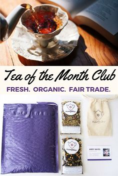 Attention Books + Tea Lovers! The Plum Deluxe tea of the month club pairs fresh loose leaf teas with a vibrant online tea community. Every batch of tea is hand-blended and infused with love!  Monthly selections include journaling prompts, a tea party of the month, and a monthly book suggestion in addition to access to the thoughtful tea community. Fun and affordable.
