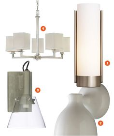 Lighting Lighting in bathrooms should blend into design, but that doesn't mean they can't stand out on their own. 1. Restoration Hardware Powell Sconce; $189; restorationhardware.com  2. West Elm Contour Single Sconce; $49; westelm.com  3. Hampton Bay Menlo Park 5-Light Brushed Nickel Chandelier; $157; homedepot.com  4. CB2 Concrete Wall Sconce; $79.95; cb2.com
