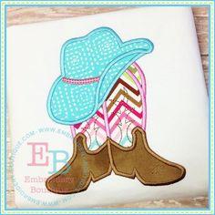 Boots N Hat Applique, EMBROIDERY BOUTIQUE