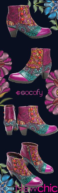 US$63.26 SOCOFY Bohemian Splicing Pattern Button Zipper Ankle Leather Boots