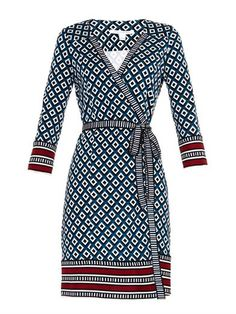 DVF dress in Seasonal trend colours Classic Blue with Marsala trim