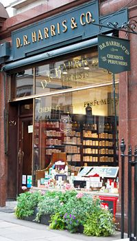 "D R Harris and Co - Chemists and Perfumers // opened in 1790 and is London's oldest pharmacy. Located at 29 St James's Street, London. The shop has many original items of furniture. They state on their website that ""the majority of our products are still produced by traditional methods, being hand-made and packed in our own premises in London."""