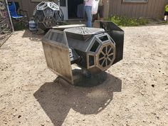 In the past few years, we have covered plenty of Tie Fighter inspired gadgets and toys here. This handmade Tie Fighter Fire Pit is also worth a look. Fire Pit Uses, Fire Pit Grill, Metal Fire Pit, Wood Burning Fire Pit, Diy Fire Pit, Fire Pits, High Heat Paint, Cinder Block Fire Pit, How To Build A Fire Pit