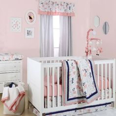 Coral Pink, Grey and Navy Floral 4 Piece Crib Bedding Set by The Peanut Shell