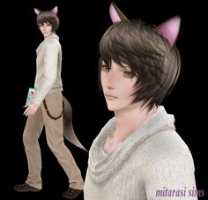 Sims 3 Anime Finds: Fox/Cat Ears and Tail + Earrings by Mitarashi Sims