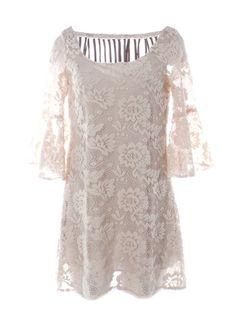 Judith March 3D Lace Dress with Flounce Sleeve & Fringe Back Detail – DejaVu