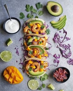 This Shrimp Tacos With Mango, Avocado, Cabbage and Lime Crema recipe is featured in the Tacos, Burritos, and Quesadillas along with many more