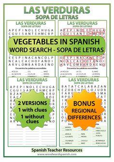 Vegetables in Spanish Word Search. Includes a version with regional differences of the names of some vegetables. Sopa de letras – Las verduras en español.