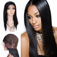 Mike  Mary Top 7A All Handmade Human Hair Full Lace Wigs Straight Natural Color for Black Women Brazilian Virgin Human Hair 20inch Natural Color ** Read more  at the image link.