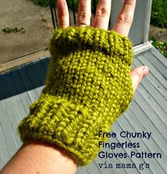 Make 2 pairs of fingerless knit gloves with one ball of Wool-Ease Thick & Quick.  Check out the pattern by Simply Homemade by Mama G.