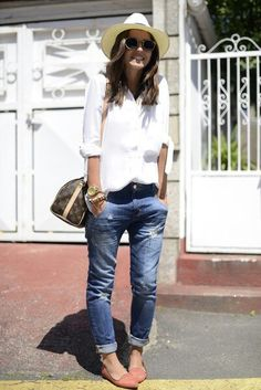White shirts cuffed jeans, loafers. Spring is on the mind
