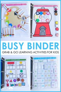 Busy Binder Early Learning Bundle, , This busy activity binder will keep early learners busy and engaged with so many fun hands on learning activities. Use this as morning work in the hom. Preschool Learning Activities, Home Learning, Preschool Lessons, Classroom Activities, Preschool Binder, Homeschool Preschool Curriculum, Online Homeschooling, Homeschooling Statistics, Preschool Special Education