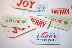 Fun, free printable gift tags for the holidays from How About Orange. Just print, pull apart and hang. So easy.