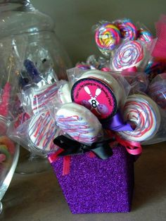 oreo pops monster high themed. These are cute. I can try to do something like this for her brother as well.