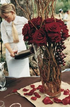 Wedding Roses Deep red tones will add a romantic touch to your fall wedding ceremony and reception. - Gorgeous wedding day inspiration using Marsala. Tall Wedding Centerpieces, Wedding Decorations, Centerpiece Flowers, Rustic Centerpieces, Centerpiece Ideas, Curly Willow Centerpieces, Halloween Wedding Centerpieces, Winter Centerpieces, Wedding Themes