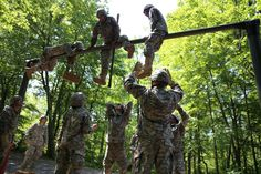 "New cadets of Easy Company gained valuable team-building and leadership skills while completing the 13 obstacles on the Leader Reaction Course during Cadet Basic Training today. Many of the new cadets were heard saying, ""This has been the best day of Beast so far! This is fun!"" They learned to communicate as a team, strategize, and encourage one another through the challenges. See more photos here: https://www.facebook.com/media/set/?set=a.10151699890669871.1073741833.15798449870=3"