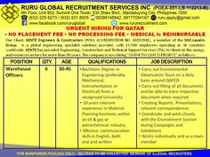 Hiring for Qatar: Warehouse Officers Warehouse Officers 30-45 years old BS Engineering from a recognized University. 10 years relevant experience in Material Planning functions Effective communication skills in English Email your resume to: ruru.apply@gmail.com You may also visit our office at: 9th Flr. Summit One Tower, 530 Shaw Boulevard Mandaluyong City Look for Ms. Marisse You may contact us at 09399394211-SMART 09175657515-GLOBE Visit us at: http://www.rururecruitment.com/contact.html
