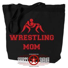 Wrestling Mom Tote Bag  Large Zippered Wrestler by ShirtsBySarah, $14.99