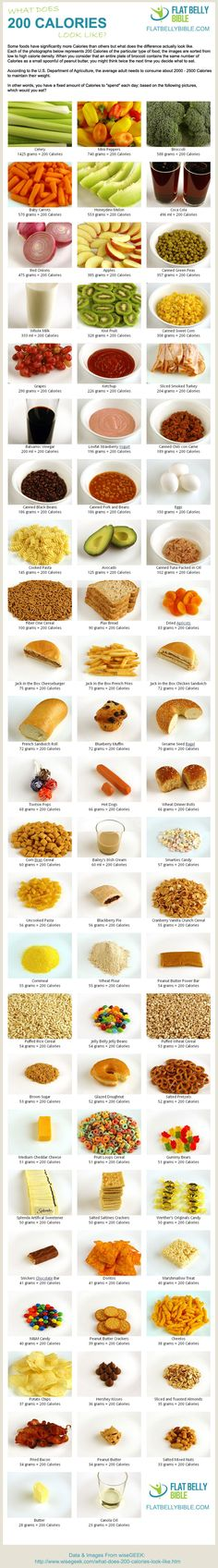 What 200 Calories Looks Like in Food via https://www.flatbellybible.com/462/what-200-calories-looks-like-in-food/