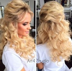 voluminous curly half up hairstyle