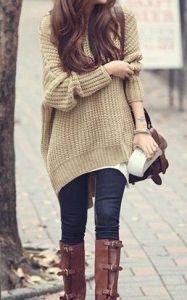 #fall #fashion / beige oversized knit + boots