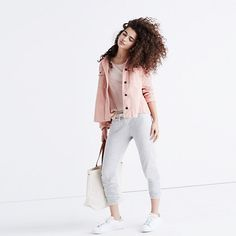 """Inspired by the Japanese concept of """"one-mile wear,"""" Mile(s) by Madewell is a collection for all the stuff you do close to home—the post-workout hangs, the neighborhood coffee strolls, the couch marathons. Made of soft fabrics in sleek shapes, it's your new weekend-starts-now uniform. Take these vintage-inspired sweatpants: They are woven with Modal for a supersoft—and we mean <i>suuuupersoft</i>—feel. <ul><li>True to size.</li><li>C..."""