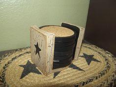 Primitive Crackle Wood Coaster Set ~ Black Stars ~ Country Decor #NaivePrimitive